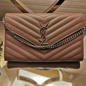 YSL Mauve Chevron shoulder/clutch bag